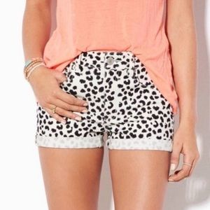 American Eagle jean shorts leopard print- size 0